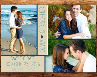 Save-the-Date Announcement, Custom Wedding Photo Card Printable // Multi-Picture