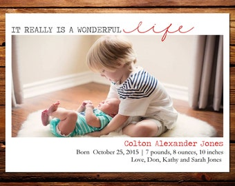 Holiday Photo Card Birth Announcement, Christmas Birth Announcement // It Really Is A Wonderful Life