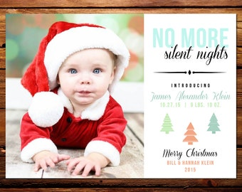 Holiday Photo Card Birth Announcement, Christmas Birth Announcement // No More Silent Nights