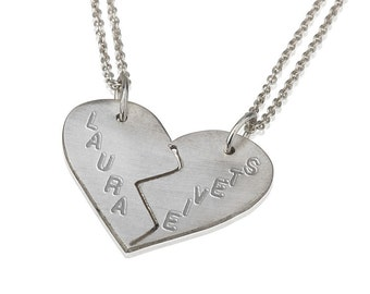 Handmade 14k Solid White Gold Engraved Breakable Heart Necklace