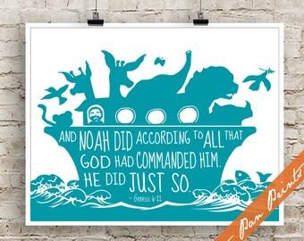 Noah's Ark Quote (Bible Book Genesis) - Art Print (Unframed) (featured in Ocean) Bible Stories for Children