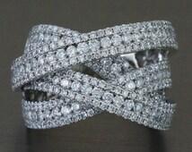 14K White Gold 2.90ct Round Diamond Woven Cocktail Ring - CUSTOM MADE