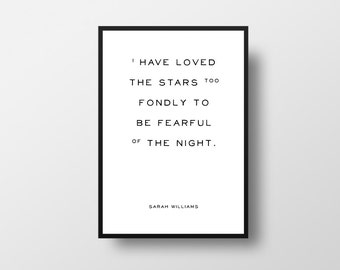 Sarah Williams, Loved the Stars, Typographic Art, Quote Art, Book Lover Gift, Science Quote, Stars Quote, Night Quote, Galileo, Poet, Writer