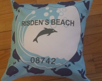 Risden's Beach Badge Pillow