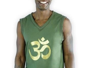Mens om sleeveless yoga Shirt - Sleeveless Shirt Mens - Man's om yoga shirt - Workout Yoga Top - Men sleeveless Shirt - Yoga Shirt - MB1