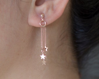 Rose gold plated on sterling silver Stars Earrings / Pair