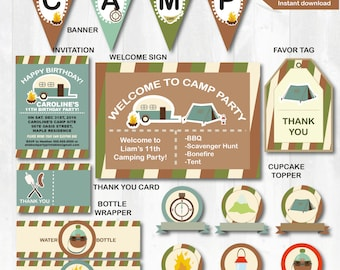 PDF format-Instant download-Camping theme birthday party pack- complete party pack-Personal Use Only
