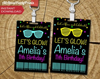 ACCESS CARD Only-PDF format-Instant Download-Neon birthday access card-digital file