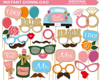 INSTANT DOWNLOAD-Wedding Photobooth Props Printable Pack -A complete photobooth printable-digital file