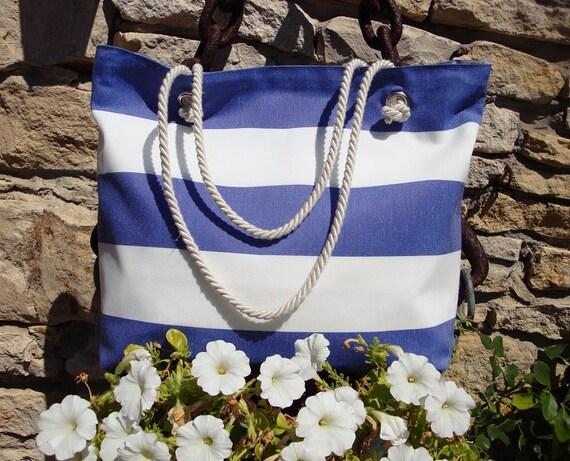 Borse Cotone Mare : Borsa mare a righe bianche e blu con manici in corda