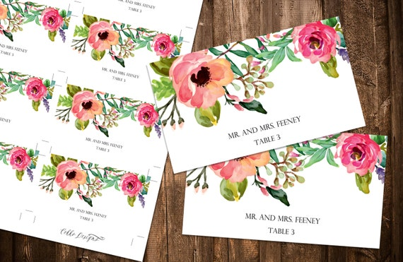 instant download diy printable flat place cards wedding