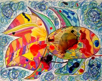Fish - Original Ink Blot and Pastels Art, Colorful Ocean, Sea Animals