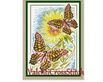 Butterflies Cross Stitch Pattern,Flower,Summer,Sun,Butterfly,Counted Cross Stitch Patterns