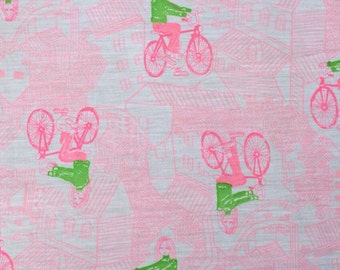 Vintage Girl on Bicycle Fabric/Pink and Green Bike Fabric/Vintage Bicycle Fabric
