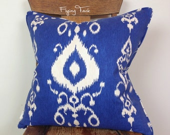 Blue and White Ikat Pillow Cover