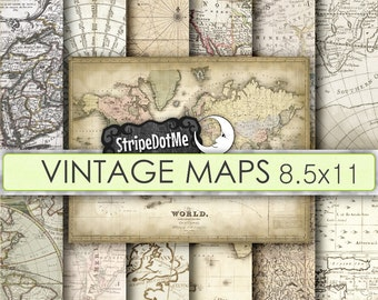 Vintage Maps Letter size 8.5x11 Digital Paper Europe, Asia, Africa, America, Old World, Antique - Instant Download - Commercial Use 00121LT