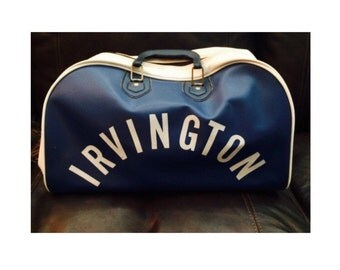 Vintage Luggage Irvington Duffle Bag / Sports / Travel Luggage Bag Blue and White