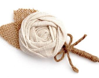 BURLAP WEDDING BOUTONNIERE- Grooms Linen Fabric Boutonniere- Wedding Boutonniere- Groomsmens Boutonnieres