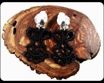 Lace Clip On Earrings, Handmade Black Lace Earrings, Black Earrings, Black Lace, Boho, Goth, Gothic Earrings, Clip-on Earrings, Clip Ons
