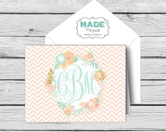 Script MONOGRAM Mint & Peach Floral NOTE CARD Set 3, Made-to-Match Cards, Birthday, Printed Thank You Cards