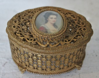 1940s Gold Plated Jewelry Box