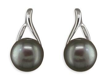 Freshwater Black Pearl Silver Stud Earrings