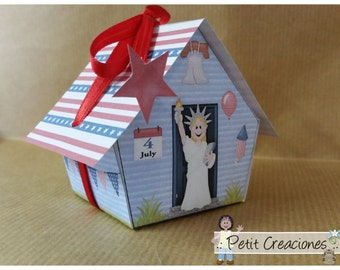 "PRINTABLE GIFT BOX ""America house"" (digital template)"