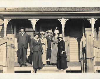 Group Photo on Front Porch, Upper Mid West, ca.1910,  Antique Real Photo Postcard