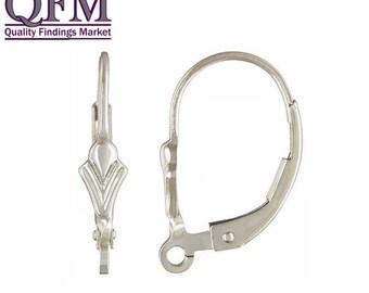 8pcs Sterling Silver 925 Leverback Earrings Liz Flower Ear wire - Stylish Wire Earrings, Silver Loop Earrings, Leverback Setting (4 pairs)