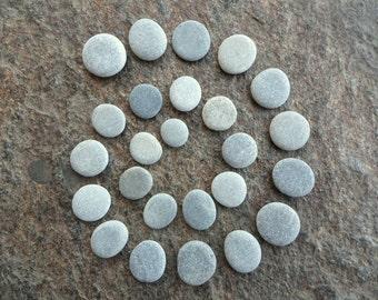 25 Beach Pebbles, Beach Stones, Round Stones, Flat Stones, Small Stones, Stone Buttons, Smooth Pebbles, Sea Stones