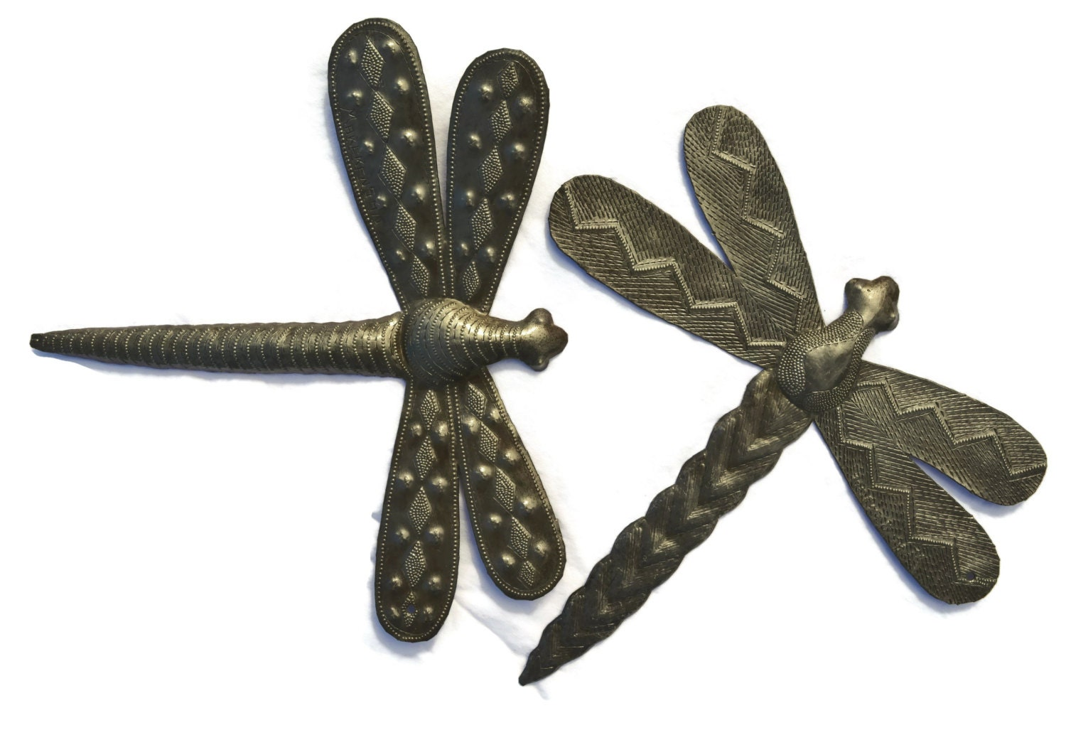 Dragonfly metal wall art hand cut from steel barrels in for Dragonfly wall art
