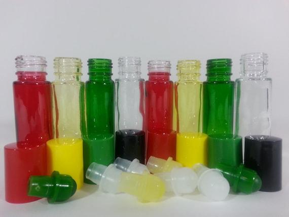 Multi Color Glass Roll On Bottles Rasta 1 3 Oz 10 Ml