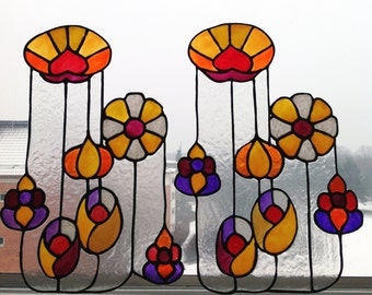 Spring Flowers - a Set of Faux Stained Glass Window Clings,  Sun catcher, Handmade Window or Mirror Decoration