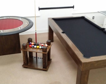 Conversion Pool Table With Ping Pong Top/ Poker Table/ Cue Rack Holder  Bundled Packages