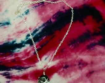 Zebra Jasper cab wrapped in silver necklace