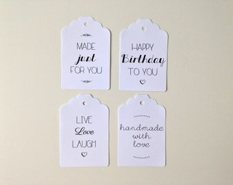 Set of 10 hand-made decorative tags