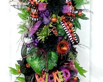 Halloween deco mesh swag,Halloween wreath,Halloween deco mesh wreath,Halloween swag,Halloween decor,XL wreath,XL swag,black wreath