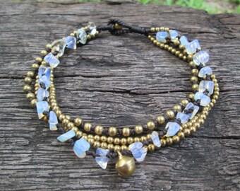 Moonstone chic bohemian chain anklet,Moonstone Brass Bead Anklet