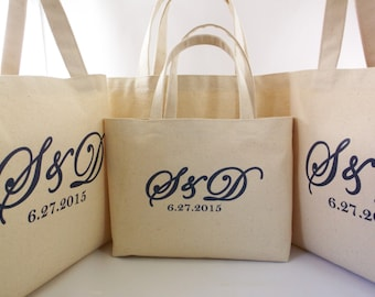 Set Of 6 WEDDING WELCOME BAGS With Wedding Brand Monogram Rustic Beach Tote