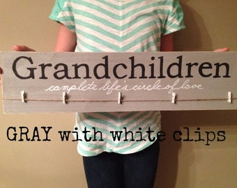 GRANDCHILDREN photo holder wall hanging GRANDPARENT GIFT wood sign