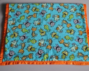 Infant toddler blanket with monsters