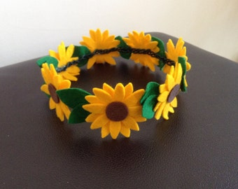 Sunflower Hair Crown Garland for Weddings, Festivals and Great Hair Days