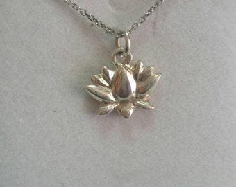 Lotus Flower Pendant - Sterling Silver