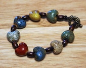 Nature-Inspired Bracelet; Wood Bead and Heart Bracelet; Handcrafted Bracelet; Earth-Toned Bracelet; Multi-Colored Bracelet; OOAK