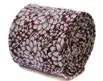 maroon red tie with white floral design 100% cotton by Frederick Thomas FT1896