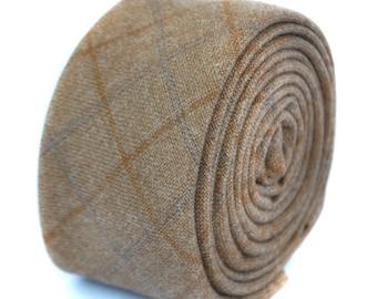 skinny coffee brown checked tweed wool tie by Frederick Thomas FT1954