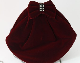 Deep Red Velvet Evening Bag , Dark Red Purse,Goldco , Silver Chain Strap , Rhinestone Bow, Formal Bag