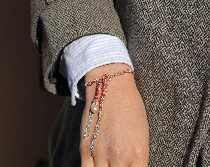 Silver bracelet - Silver pearl bracelet - boho style bracelet - Cord bracelet - Red silk thread bracelet - Unique bracelet - Hippie - gift
