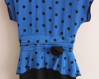 80s Blue and Black Polka Dot Dress with Peplum Detail, Size 12