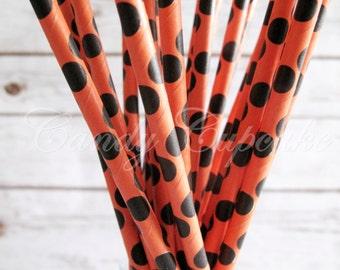 ORANGE BLACK DOTS, 25 Orange Paper Straws With LargeBlack Polka Dots/Spots, Halloween Paper Straw